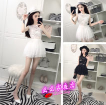 Dress Spring 2021 White, black S, M Short skirt singleton  Sleeveless street Crew neck High waist Solid color zipper Cake skirt other Others 18-24 years old T-type Momo's nightclub Hollow out, open back, stitching, lace 30% and below Lace nylon Europe and America