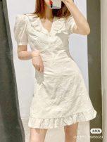 Dress Spring 2020 White, clear water green M,S,L Short skirt Short sleeve Sweet V-neck Socket UR DESY brocade