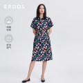 Dress Spring 2021 Blue + white 155/76A/XS 155/80A/S 160/84A/M 165/88A/L 170/92A/XL 175/96A/XXL Middle-skirt singleton  Short sleeve commute square neck High waist Hand painted Socket other other Others 25-29 years old Type X Erdos / Ordos Retro printing E215I3039 More than 95% other cotton