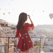Dress Summer of 2018 Brick red S,M,L,XL Short skirt singleton  elbow sleeve Sweet V-neck middle-waisted Decor Socket Cake skirt pagoda sleeve Others 25-29 years old Type X More than 95% Chiffon acrylic fibres Lolita