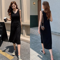 Dress Summer 2021 black S,M,L,XL,2XL,3XL,4XL Mid length dress singleton  Sleeveless commute Crew neck High waist Solid color Socket A-line skirt routine Others 18-24 years old Type A Korean version 31% (inclusive) - 50% (inclusive) modal