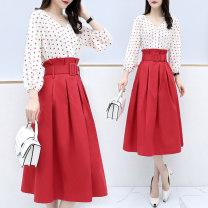 Dress Spring 2020 Red dot S,M,L,XL,2XL Two piece set three quarter sleeve commute V-neck Dot bishop sleeve Type X Yimei chestnut Korean version Chiffon