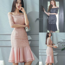 Dress Autumn 2020 Blue, pink S,M,L,XL Middle-skirt singleton  three quarter sleeve commute One word collar High waist Solid color zipper Ruffle Skirt routine camisole 25-29 years old Type A Korean version Lace 31% (inclusive) - 50% (inclusive) Lace polyester fiber