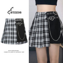 skirt Summer 2021 S,M,L Picture color Short skirt street High waist Pleated skirt lattice Type A 18-24 years old 30% and below Other / other polyester fiber chain