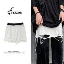 Casual pants Light gray, white, black Average size Summer 2021 shorts Versatile Thin money 18-24 years old 30% and below Other / other cotton hole cotton Asymmetry