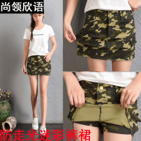 skirt Summer 2020 S, M Camouflage green Short skirt motion Natural waist A-line skirt Decor Type A 18-24 years old SLXY3235 71% (inclusive) - 80% (inclusive) Denim Shanglingxin language cotton Pocket, button, zipper 201g / m ^ 2 (including) - 250G / m ^ 2 (including)