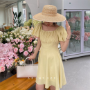 Dress Spring 2021 Oil painting, pink, white peach, elegant, sweet yellow S, M Mid length dress singleton  Short sleeve commute High waist Solid color Socket other other Others 18-24 years old Type H Honey rain Korean version 90027%