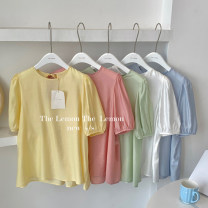 shirt Green, blue, white, yellow, pink Average size Spring 2021 other 30% and below Short sleeve commute Regular Crew neck Socket other Solid color 18-24 years old Straight cylinder Honey rain Korean version 0163%