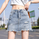 skirt Summer 2021 S,M,L,XL,2XL blue Versatile A-line skirt Solid color Type A 81% (inclusive) - 90% (inclusive) Denim cotton Holes, hand worn