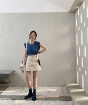 skirt Spring 2021 S,M,L,XL Cream (second batch), industrial grey (second batch) Mid length dress street Natural waist Solid color 25-29 years old iwing Europe and America