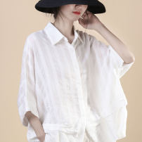 shirt white Average size Spring 2021 other 81% (inclusive) - 90% (inclusive) elbow sleeve commute Regular Polo collar Single row multi button routine stripe 30-34 years old Straight cylinder Xu ran Korean version Z232 Pleats, buttons Cotton and hemp