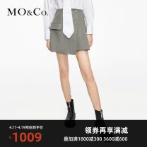 skirt Spring 2021 XS/155 S/160 M/165 L/170 XL/175 Black olive green Short skirt street High waist Pleated skirt Solid color 25-29 years old MBA1SKT004 51% (inclusive) - 70% (inclusive) MO & Co. / Moco polyester fiber Polyester 55.7% wool 44.3% Same model in shopping mall (sold online and offline)