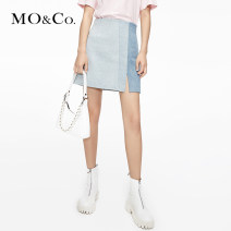 skirt Spring 2021 XS/155 S/160 M/165 L/170 XL/175 Denim light blue Short skirt street High waist 25-29 years old MBA1SKT018 More than 95% MO & Co. / Moco cotton Cotton 100% Same model in shopping mall (sold online and offline) Europe and America