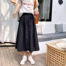 skirt Autumn 2020 Average size Dark grey, black longuette commute High waist A-line skirt Solid color Type A 18-24 years old