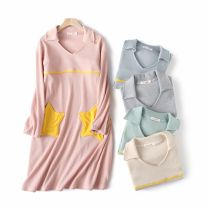 Nightdress Z.Moment Sea salt blue, peach powder, mint green, gentle milk tea, Macchiato grey M (within 125 kg), l (within 140 kg) Sweet Long sleeves pajamas Middle-skirt autumn Solid color youth Small lapel cotton Sticking cloth More than 95% pure cotton