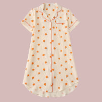 Nightdress Other / other Short sleeve shirt skirt - Orange cotton yarn M, L Sweet Short sleeve pajamas Middle-skirt summer Plants and flowers youth Shirt collar cotton printing More than 95% Cotton gauze