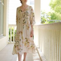 Nightdress Other / other Wisteria Satin Dress S,M,L Sweet Short sleeve pajamas Middle-skirt summer Plants and flowers youth V-neck viscose  printing More than 95% Iced silk