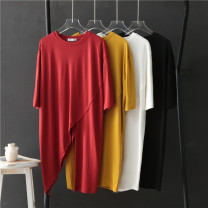 T-shirt Average size Summer 2020 elbow sleeve Crew neck easy Medium length routine other 51% (inclusive) - 70% (inclusive) Asymmetry