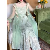 Dress Summer 2021 Light green (suspender skirt, in stock, light green (suspender skirt, pre-sale) S,M,L longuette singleton  Sleeveless Sweet High waist Solid color zipper Cake skirt routine camisole 25-29 years old Type A Other / other Lace 81% (inclusive) - 90% (inclusive) Chiffon