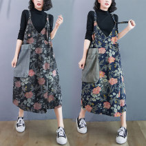 Women's large Autumn 2020 Blue, black One size fits all Dress singleton  commute easy thick Socket Sleeveless Plants and flowers literature V-neck Denim Collage routine Other / other 25-29 years old pocket 71% (inclusive) - 80% (inclusive) Medium length other straps
