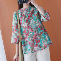 Women's large Spring 2021, summer 2021 Picture color L [100-130 kg], XL [120-150 kg], 2XL [150-180 kg] shirt singleton  commute easy moderate Socket three quarter sleeve Broken flowers literature stand collar routine polyester printing and dyeing routine Other / other 25-29 years old Button