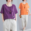 Women's large Summer 2021 Orange, white, purple M [100-120 Jin], l [120-140 Jin], XL [140-160 Jin], 2XL [160-180 Jin] T-shirt singleton  commute easy moderate Socket Short sleeve Solid, plaid literature Crew neck routine Cotton, hemp Collage routine Other / other 25-29 years old pocket