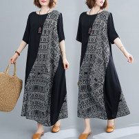 Women's large Summer 2020 black Large average size [100-200kg] Dress singleton  commute easy thin Socket elbow sleeve shape literature Crew neck cotton Collage routine Other / other 25-29 years old Asymmetry 81% (inclusive) - 90% (inclusive) longuette other