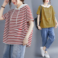 Women's large Summer 2020 Red, yellow M [100-120 Jin], l [120-140 Jin], XL [140-160 Jin], 2XL [160-180 Jin] T-shirt singleton  commute easy thin Socket Short sleeve stripe literature Hood routine cotton Three dimensional cutting routine Other / other 25-29 years old Asymmetry