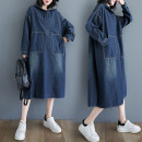 Women's large Spring 2021 blue Dress singleton  commute easy moderate Socket Long sleeves Solid color literature Hood Denim, cotton Three dimensional cutting routine Other / other 25-29 years old pocket 71% (inclusive) - 80% (inclusive) longuette other