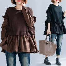 Women's large Autumn 2020 Brown, black Large average size [100-180 kg] shirt Fake two pieces commute easy moderate Socket Long sleeves Solid color literature Crew neck Medium length cotton Collage shirt sleeve Other / other 25-29 years old fungus 71% (inclusive) - 80% (inclusive) Lotus leaf edge