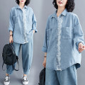Women's large Summer 2020 Light denim shirt singleton  commute easy moderate Long sleeves Solid color literature Polo collar Medium length Denim Collage shirt sleeve Other / other 25-29 years old Lace stitching 71% (inclusive) - 80% (inclusive)