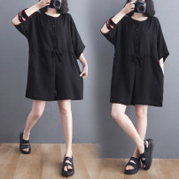 Women's large Summer 2021 Black Jumpsuit Large average size [100-200kg] trousers singleton  commute easy moderate Conjoined elbow sleeve Solid color literature Crew neck Cotton, hemp Three dimensional cutting routine Other / other 25-29 years old pocket 71% (inclusive) - 80% (inclusive) shorts