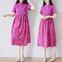 Dress Summer 2020 rose red L [95-110kg], XL [110-130kg], 2XL [130-150kg] Mid length dress singleton  Short sleeve commute stand collar Loose waist Broken flowers Socket A-line skirt routine Others 25-29 years old Type A Other / other literature Print, button, pocket, lace up, stitching other hemp