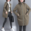 Women's large Autumn 2020 Army green, black S [90-110 Jin], m [110-125 Jin], l [125-140 Jin], XL [140-155 Jin], 2XL [155-170 Jin] Windbreaker singleton  commute easy thick Cardigan Long sleeves Solid color literature Hood Medium length other Three dimensional cutting routine Other / other pocket