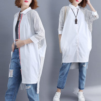 Women's large Spring 2021 white L [100-150 Jin], XL [150-200 Jin] shirt singleton  commute easy moderate Cardigan three quarter sleeve stripe literature Polo collar Medium length polyester Collage shirt sleeve Other / other 25-29 years old pocket 71% (inclusive) - 80% (inclusive)