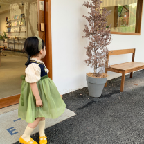 Dress green female Other / other Other 100% summer Korean version Solid color other Big swing Class B 12 months, 18 months, 2 years old, 3 years old, 4 years old, 5 years old, 6 years old, 7 years old