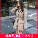 woolen coat Autumn of 2019 S,M,L,XL,2XL Beige single lining, black single lining, beige cotton lining, black cotton lining wool 30% and below routine Long sleeves commute Frenulum pagoda sleeve tailored collar Solid color Self cultivation Korean version Solid color polyester fiber