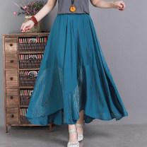 skirt Spring 2021 Average size Blue, black, beige Mid length dress commute Natural waist Solid color hemp literature