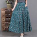 skirt Spring 2021 Average size Blue, purple, beige, orange, coffee Mid length dress commute Natural waist Decor 51% (inclusive) - 70% (inclusive) hemp literature