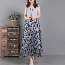 Dress Spring 2021 Black, premium grey, light brown Average size Mid length dress singleton  Sleeveless commute Loose waist Solid color Socket Big swing Type A literature 51% (inclusive) - 70% (inclusive) Lace cotton