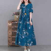 Dress Spring 2021 Peacock blue, yellow, sky blue, pink L,XL Mid length dress singleton  Short sleeve commute V-neck Loose waist Decor Socket Big swing routine 30-34 years old Type A literature Pocket, lace up, stitching, print 51% (inclusive) - 70% (inclusive) hemp