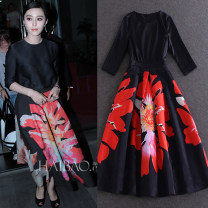 Dress / evening wear Dating, company annual meeting, performance, routine, party, bar mitzvah XXL,XXXL,S,M,L,XL black fashion Medium length middle-waisted Autumn 2020 A-line skirt zipper Silk floss 26-35 years old three quarter sleeve flower Big flower routine