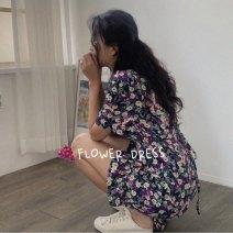 Dress Summer 2020 Purple flower Average size Short skirt singleton  Short sleeve Decor