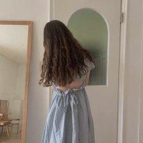 Dress Summer 2020 Sea salt blue Average size longuette singleton  Short sleeve Solid color