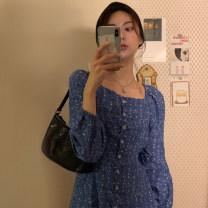 Dress Autumn of 2019 blue Average size longuette singleton  Long sleeves Decor