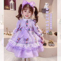 Dress Purple Princess Dress female Neon workshop The recommended height is 90cm for size 5, 100cm for size 7, 110cm for size 9, 120cm for size 11, 130cm for size 13 and 140cm for size 15 Other 100% spring and autumn Korean version Long sleeves other blending A-line skirt B284 Chinese Mainland