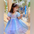 Dress Blue Princess Dress female Neon workshop The recommended height is about 80cm for size 80, 90cm for Size 90, 100cm for size 100, 110cm for Size 110, 120cm for Size 120, 130cm for Size 130 and 140cm for size 140 Other 100% summer Korean version Short sleeve other Princess Dress B80 other