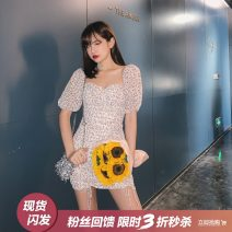 Dress Summer 2020 Picture color S,M,L Short skirt singleton  Short sleeve Sweet square neck High waist Broken flowers puff sleeve Others 18-24 years old