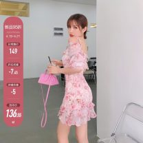 Dress Summer 2021 Pink, batch 2 S,M,L Short skirt singleton  Short sleeve commute One word collar High waist Broken flowers Socket Pleated skirt Lotus leaf sleeve camisole 18-24 years old Type A X21Q2597 30% and below other cotton