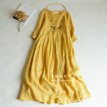 Dress Spring of 2019 Yellow, white, light gray, old pink, gray blue Average size Mid length dress singleton  elbow sleeve commute Crew neck Loose waist Solid color Socket A-line skirt routine Type A literature More than 95% hemp